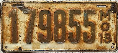 GENUINE American 1918 Missouri USA License Licence Number Plate 179855