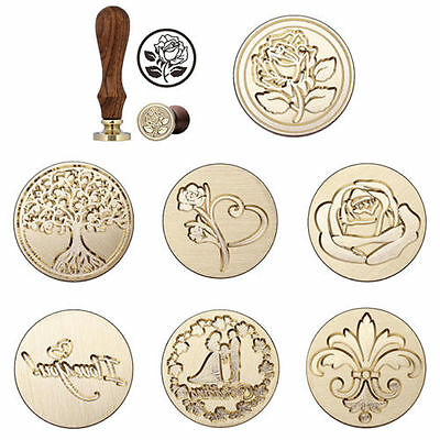 Vintage          Handle  Pattern Stamp Wooden Wax Seal For Wedding Invitation
