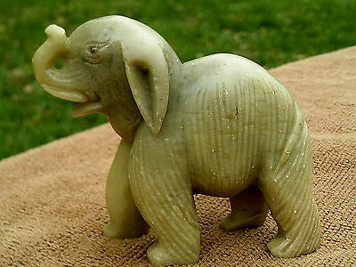 Vintage - Chinese - Hand Carved - Jade - Stone - Elephant   - Free Shipping
