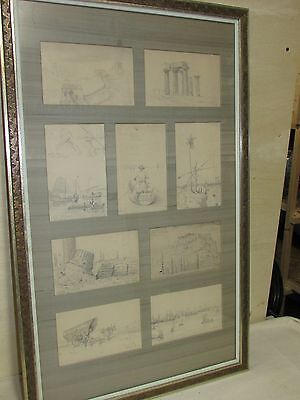 Antique Pencil Drawing China Europe Grand Tour Chinese Ports Shanghai Canton 9pc