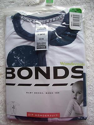 BNIP Baby Boy's Bonds Navy/White Zip Wondersuit/Coverall/Sleeper Sizes 000 & 00