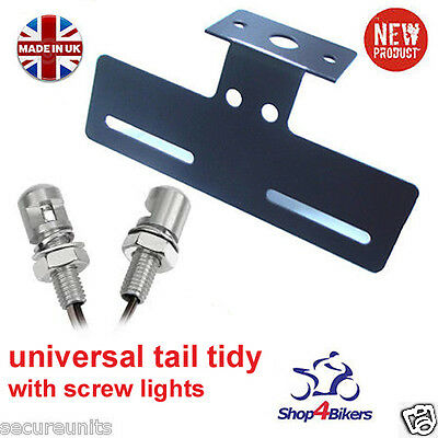 Motorcycle tail tidy number plate holder rsend & led aluminium screw light