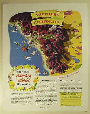 Vintage 1952 SOUTHERN CALIFORNIA TOURISM Full-Page Large Magazine Print Ad