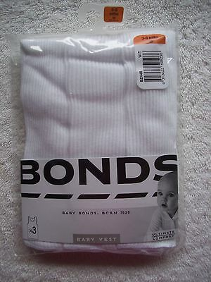 BNIP Baby Girl's/Boy's Unisex Bonds 3 Pack White Cotton Singlets Size 00