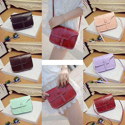 Women Retro Synthetic PU Leather Mini Ladies Handbag Cross Body Shoulder Bags