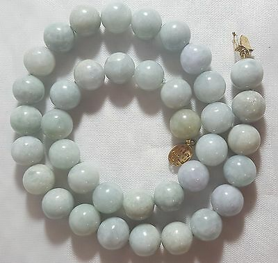 Asian  Jade Necklace W 14Kt Gold Clasp ~ 10 Mm Jade