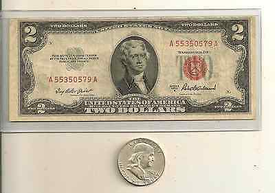 1953 or 63 $2 US red seal note &  90 % Franklin Silver half Lot of 2 (u get all