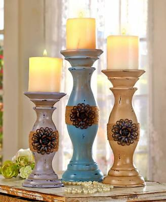 Candle Holders Set Stick Pillar Distressed Vintage Shabby Chic Antique Country
