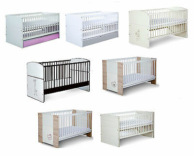 BABY SAFARI WOODEN WHITE COT BED WITH MATTRESS 140x70 CONVERTS INTO JUNIOR BED