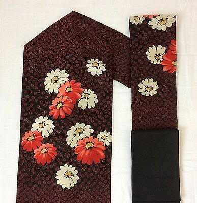 Vintage authentic Japanese nagoya obi, flowers, Japan import, used (M1218)