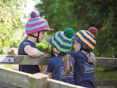 Shires Hat Cover Silk Riding Jockey Peaked Pom Pom Stripes - All Colours (832)