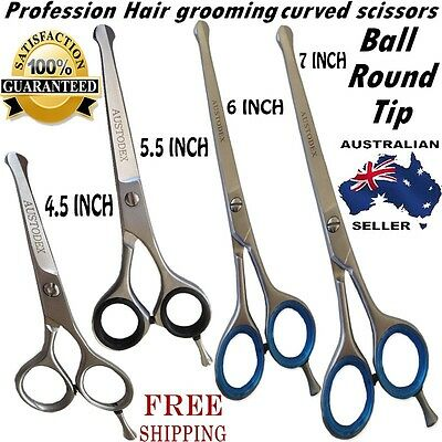 New Professional Pet Dog Grooming Curved Ball Tip Hair Cutting Razor Scissors