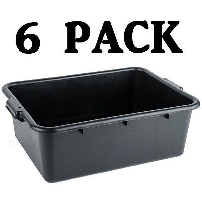 "6 PACK 20"" x 15"" x 7"" Black Polypropylene Bus Plastic Restaurant Dishwasher Tub"