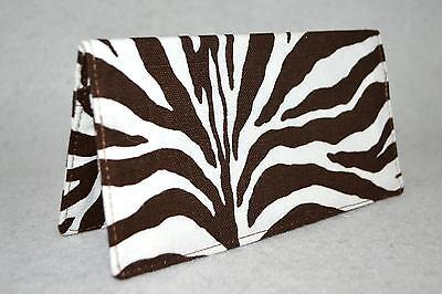 Checkbook Cover w-Carbon Copy Panel or Coupon Holder~Handmade~Brown-White Animal