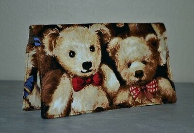 Checkbook Cover w-Carbon Copy Panel or Coupon Holder~Handmade~Adorable BEARS