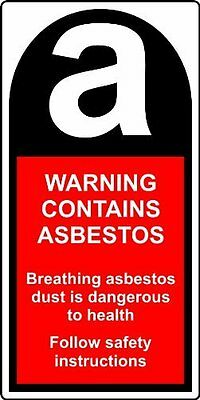 Warning Contains Asbestos 25 x 50mm Roll of 500