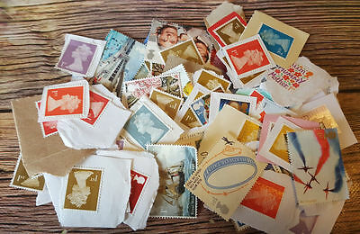 100 GB First 1st Class Stamps  - Unfranked and on paper (used stamps) FV £65