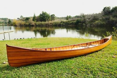 Real Canoe with Ribs 16 Ft Cedar Strip Wood Boat & 2 Paddles  Assembled