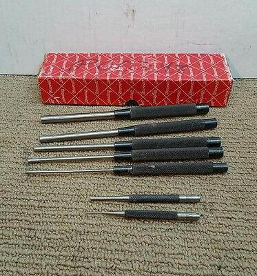 "Starrett 7Pc. Drive Pin Punch Set 8"" and 4"" length"