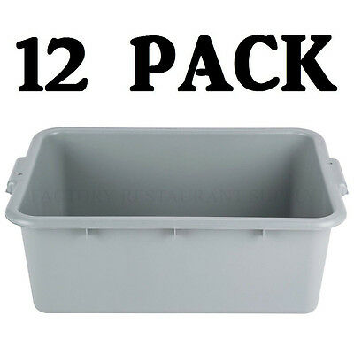 "12 PACK 20"" x 15"" x 7"" Gray Polypropylene Plastic Bus Dishwasher Tub Restaurant"