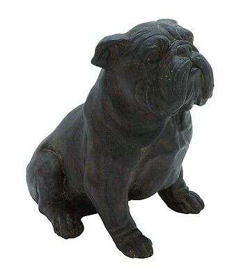 Adorable Sitting Bulldog Statue Cute Expression Brown Home Decor 44719