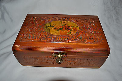 Vintage Carved Wood Jewelry Dresser Box Chest Flowers Lid Mirror Inside
