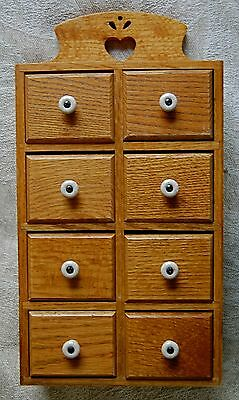 Vintage Oak Spice Cabinet 8-Drawer Solid Oak Apothecary Cabinet Eclectic Cool