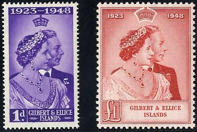 Gilbert & Ellice Is SG 57-8/CW S6-7 1948 Silver Wedding pair