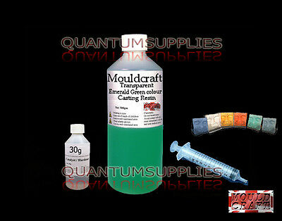 1kg MOULDCRAFT TRANSPARENT EMERALD GREEN COLOUR CASTING RESIN USE WITH JEWELLERY