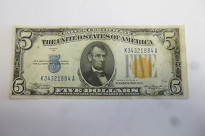 Silver Certifiate South Africa Uncirculated U.s. 5.00 Note 1934 Yellow Seal #3