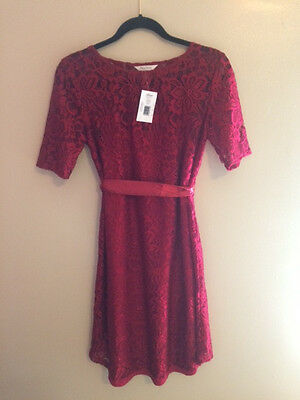 Medium Maternity Cocktail Dress - MaCherie Red Lace  Elbow Sleeve, Belted, NEW