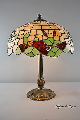 "Antique Leaded Glass Lamp Cattails Water Lilly 18"" Miller Lamp Company"