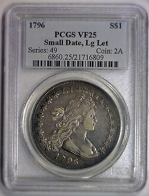 1796 Draped Bust Silver Dollar Small Date, Large Letters Var. ~ PCGS VF25 VF 25