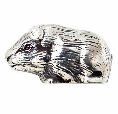 Collectable Victorian Style Guinea Pig Figurine Ruby Eyes 925 Sterling Silver