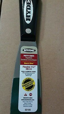"Hyde Tools 1 1/2"" Flexible Black & Silver Putty Knife PN 02100"