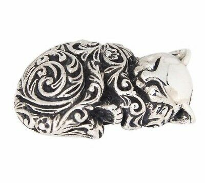Miniature Collectable Victorian Style Sleeping Cat Figurine 925 Sterling Silver