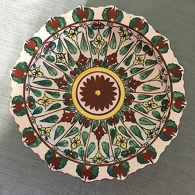 """Vintage Chinese Hand-painted Famille Verte Pedestal Compote Dish Footed Bowl 6"""""""
