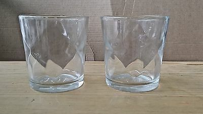 (2) Drambuie Rocks Glasses Diamond Design Double D (DD) Etched on Bottom 3.75""