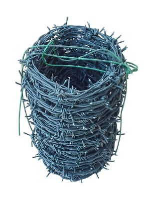 50M Barbed Wire ROLL COIL GALVANISED GREEN PVC COATED FENCE FIELD SECURITY WIRE