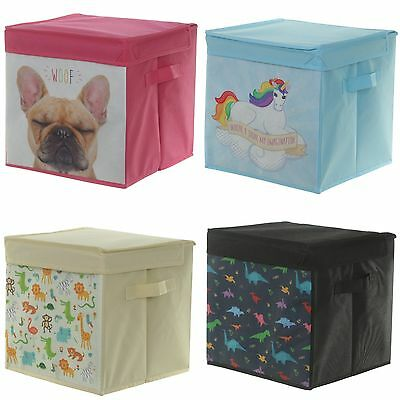 Foldable Canvas Storage Box - With Lid - Home Office Kids Toys Folding Design