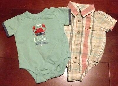 Euc Babygap Baby Boys Size 3-6 Months Lot Of 2 One Piece Tops