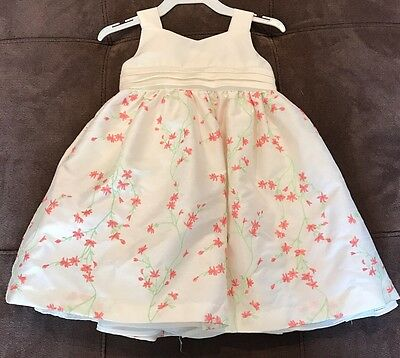 Cherokee Toddler Girl Size 18 Months Ivory Pink/coral Green Embroidery Dress