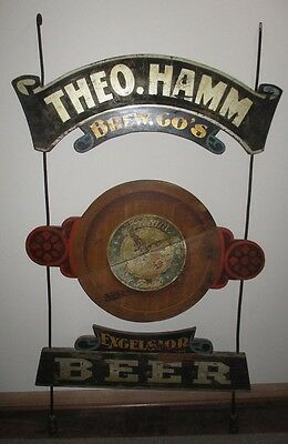 Pre Prohibition Wooden Double Sided Trade Sign THEO. HAMM Brewing Co. Excelsior