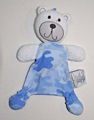 First Impressions Blue White Camo Teddy Bear Security Baby Blanket Toy Plush