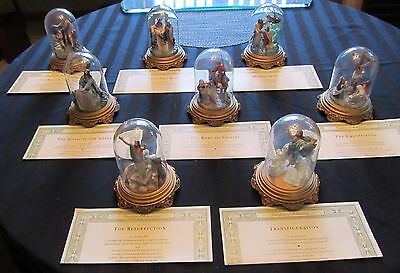"""8 MIB 1988 """"Life Of Christ"""" Franklin Mint Religious Sculptures Under Glass Domes"""