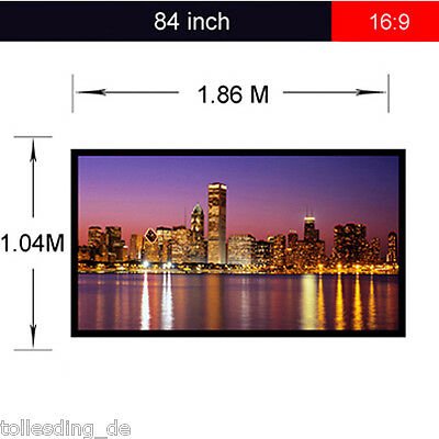 """84"""" in 16:9 HD Manual Projection Screen Matte White Pull Down Projector Cinema"""