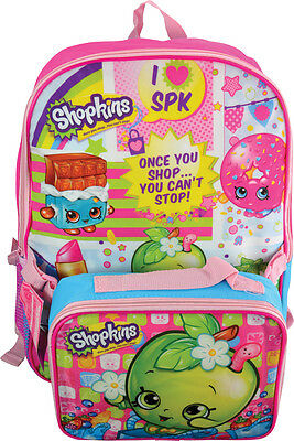"""Shopkins Deluxe Backpack 16"""" with Bonus lunch box"""