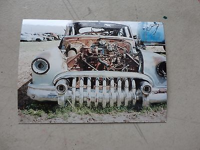 """Vintage 3&1/2 by 5"""" color photo of Buick in Junk Yard"""
