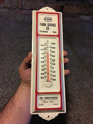 Coop Farm Service Bode Iowa Pocahontas Advertising Thermometer Vintage Farm
