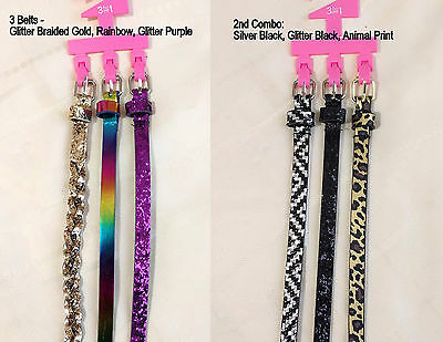 3 Pieces of Skinny Belt for Girls - Glitter Braided Animal Print Belts S/M M/L